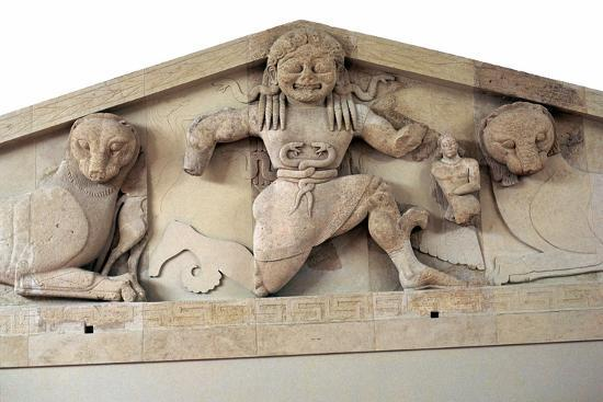 A gorgon and panthers from the pediment of the temple of Artemis on Corfu. Artist: Unknown-Unknown-Giclee Print