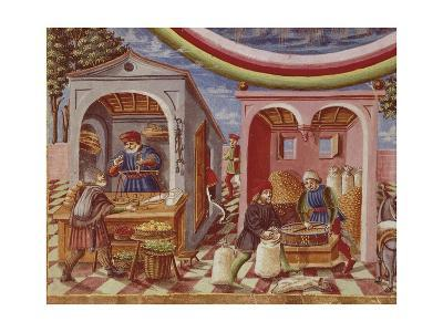 A Grain and Fruit Store, Detail from a Manuscript Miniature, Italy 15th Century--Giclee Print