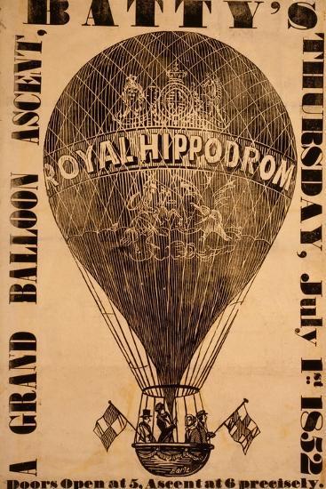 A Grand Balloon Ascent, Batty's, Thursday, July 1St, 1852--Giclee Print