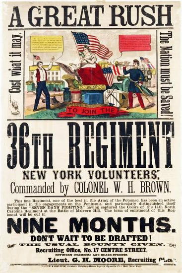 A Great Rush', Recruitment Poster for 36th Regiment, Published by Baker and Goodwin--Giclee Print