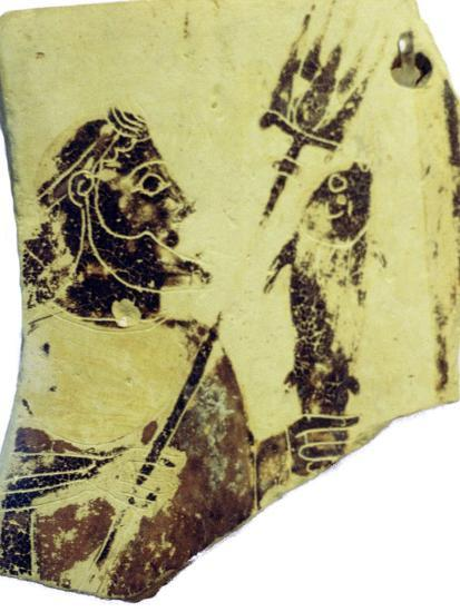 A Greek pottery fragment with the image of Poseidon. Artist: Unknown-Unknown-Giclee Print