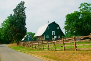 A green barn near President James Madison's home in rural Virginia