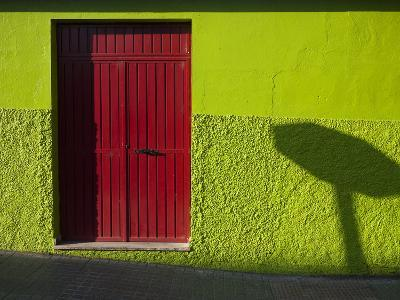 A Green Building with a Red Door in Merida-Tino Soriano-Photographic Print