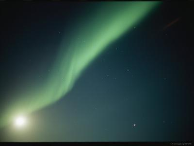 A Green Curtain of the Aurora Borealis in a Night Sky-Norbert Rosing-Photographic Print