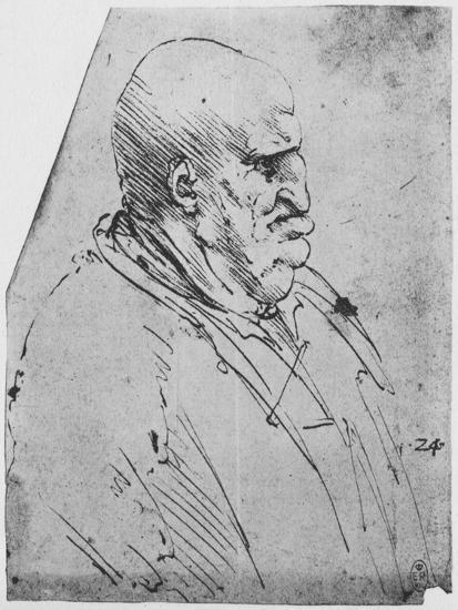 'A Grotesque Profile of a Man to the Right', c1480 (1945)-Leonardo da Vinci-Giclee Print