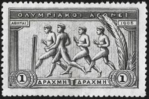 A Group Of Athletes Running, Greece 1906 Olympic Games, 1 Drachma, Unused Stamp Design