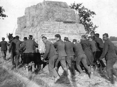 A Group of British Pows in Germany, Transporting Hay for the Troops' Straw Beds--Photographic Print