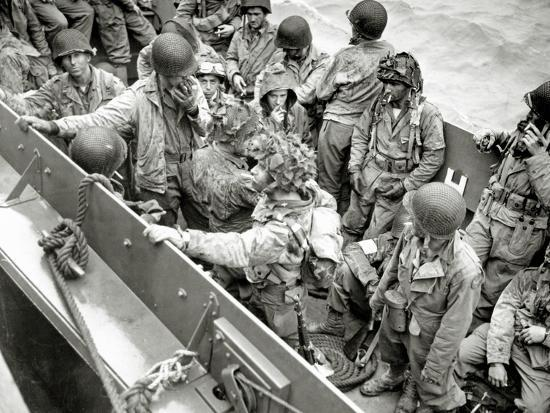 A Group of Glider Pilots Is Returning to England in a Landing Craft, Vehicle, Personnel--Photographic Print