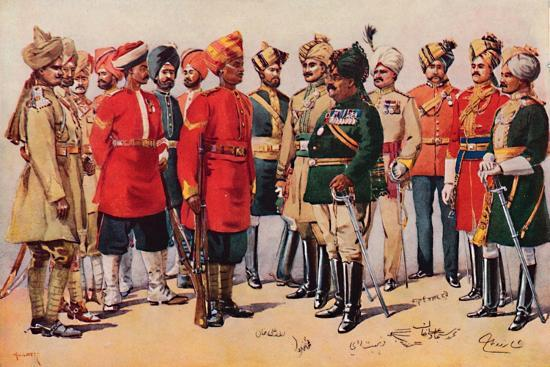 'A Group of Indian Soldiers', 1913-AC Lovett-Giclee Print