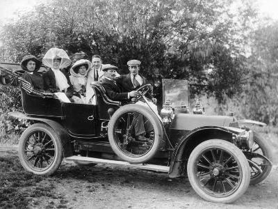 A Group of Men and Women Taking an Outing in a 1907 Mercedes, 1908--Photographic Print