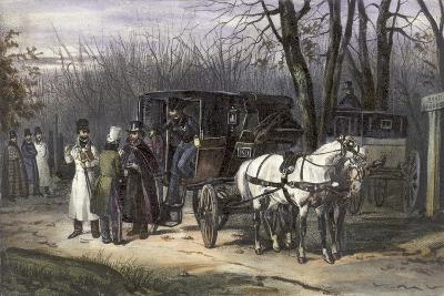 A Group of Men Disembarking from their Carriage--Giclee Print
