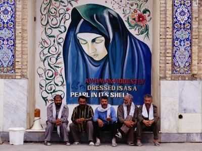 A Group of Men Sitting in Front of a Mural in the Courtyard of the Tomb of Prophet Daniel, Iran-Patrick Syder-Photographic Print