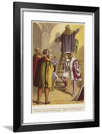 A Group of Men Stand Below a Ladder on Which an Artist Works--Framed Giclee Print