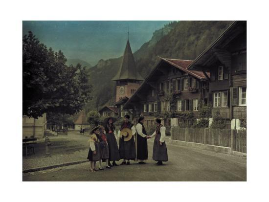 A Group of Mothers and Daughters Pose on a Village Street Corner-Hans Hildenbrand-Photographic Print