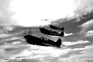 A Group of P-40 Warhawks Fly in Formation Near Nampa, Idaho