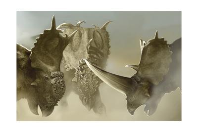 A Group of Pachyrhinosaurus Dinosaurs-Stocktrek Images-Art Print