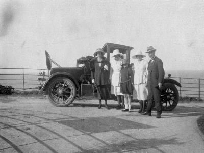 A Group of People in Front of their Car at the Seaside, C1920s--Giclee Print