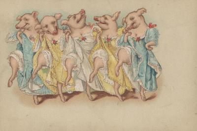 A Group of Pigs Dancing in a Line--Giclee Print