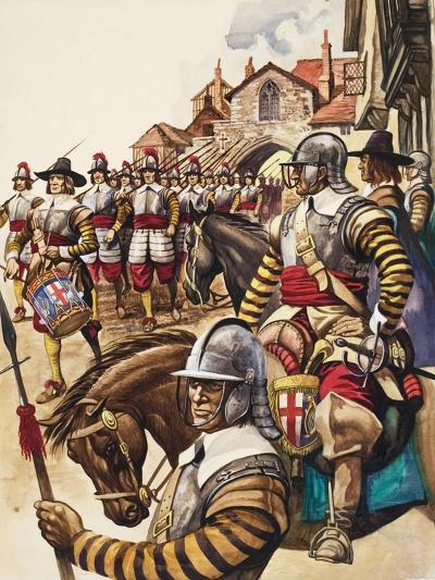 A Group of Pikemen of the New Model Army March into Battle Led by a Drummer-Peter Jackson-Giclee Print
