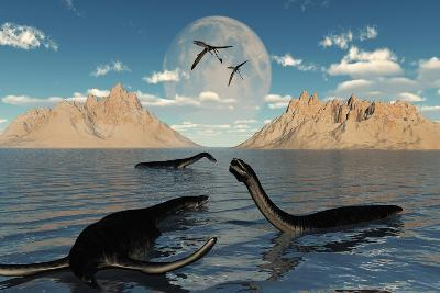 A Group of Plesiosaurs Relaxing on a Jurassic Day-Stocktrek Images-Art Print