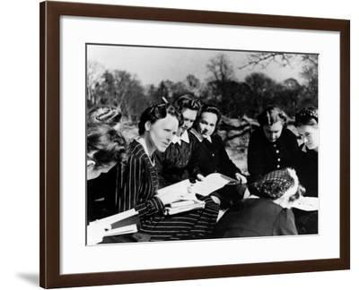 A Group of Polish Women at the Marie Curie School for Girls Study English with Their Teacher--Framed Photographic Print