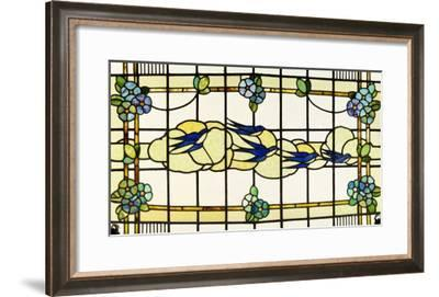 A Group of Swallows Before Clouds in a A Border of Stylised Flowerheads--Framed Giclee Print