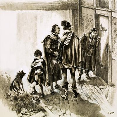 A Group of Tax Collectors Vainly Hammering on William Shakespeare's Door-Neville Dear-Giclee Print