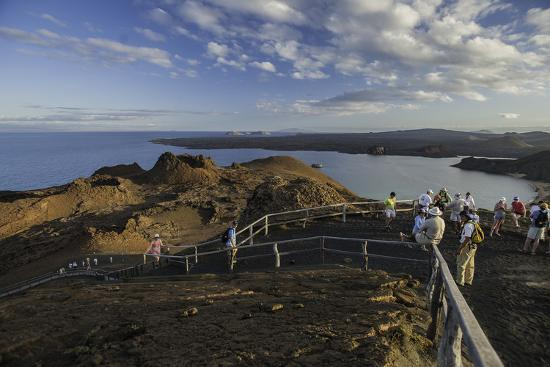 A Group of Tourists Hiking on Bartolome Island-Jad Davenport-Photographic Print
