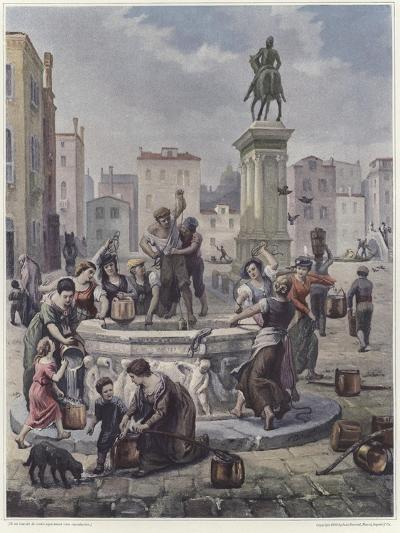 A Group of Women Collecting Water from a Well in Venice--Giclee Print