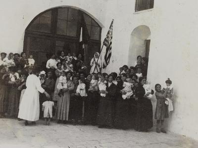 A Group of Women with Children Photographed in the Courtyard of a Convent--Photographic Print