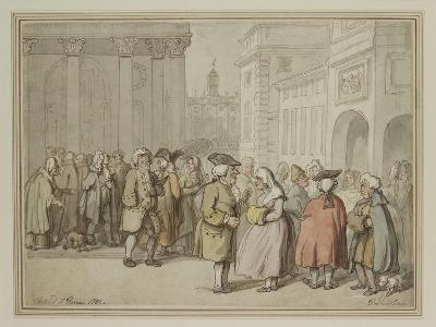 A Group Sketched at Rome (Pen and Reddish-Brown Ink and Watercolour over Indications in Graphite)-Thomas Rowlandson-Giclee Print
