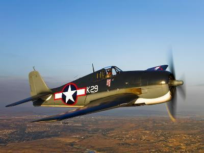 A Grumman F6F Hellcat Fighter Plane in Flight-Stocktrek Images-Photographic Print