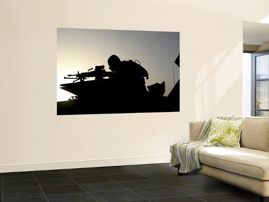 A Gunner Looks Through the Sights of His Squad Automatic Weapon--Wall Mural