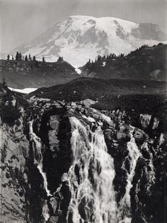 A Cascading Branch of the Upper Paradise River, Mount Rainier in Back by A. H. Barnes