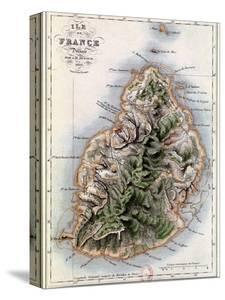 """Map of Mauritius, Illustration from """"Paul et Virginie"""" by Henri Bernardin de Saint-Pierre, 1836 by A^h^ Dufour"""