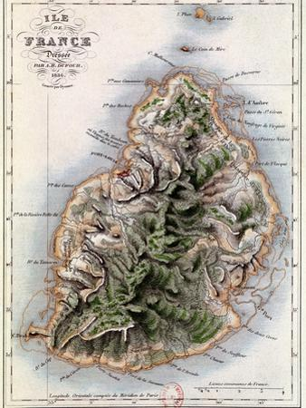 "Map of Mauritius, Illustration from ""Paul et Virginie"" by Henri Bernardin de Saint-Pierre, 1836 by A.h. Dufour"