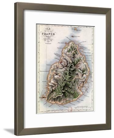"Map of Mauritius, Illustration from ""Paul et Virginie"" by Henri Bernardin de Saint-Pierre, 1836"