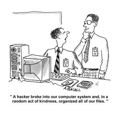 """""""A hacker broke into our computer system and, in a random act of kindness,?"""" - Cartoon-Aaron Bacall-Premium Giclee Print"""