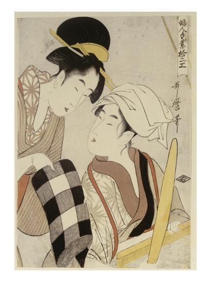 A Half Length Portrait of Two Women, from the Series 'Twelve Forms of Women's Handiwork'-Kitagawa Utamaro-Giclee Print