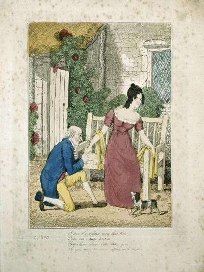 A Hand Coloured Lithographed Scene of a Man Proposing, C.1800 (Hand Coloured Lithoraph on Card)--Giclee Print