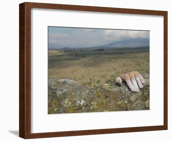 A Hand Tops a Summit in Hells Gate-Bobby Model-Framed Photographic Print