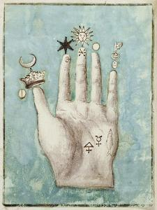 A Hand with Alchemical Symbols Against the Fingers, First Half of the 17th Century