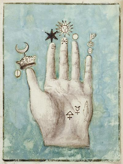 A Hand with Alchemical Symbols Against the Fingers, First Half of the 17th Century--Giclee Print