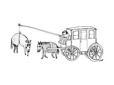 A handsome cab driver dangles a  horse in high heels and makeup in front o? - New Yorker Cartoon--Premium Giclee Print