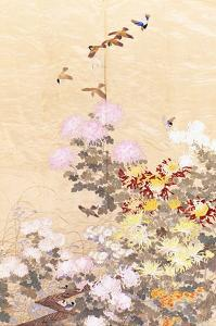 A Hanging of Gold Lame, Embroidered in Silks with Finches Perched Amongst Pink, Yellow and White…