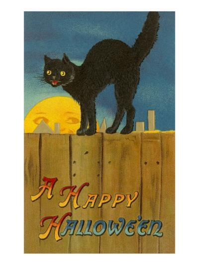 A Happy Halloween, Cat on Fence--Art Print