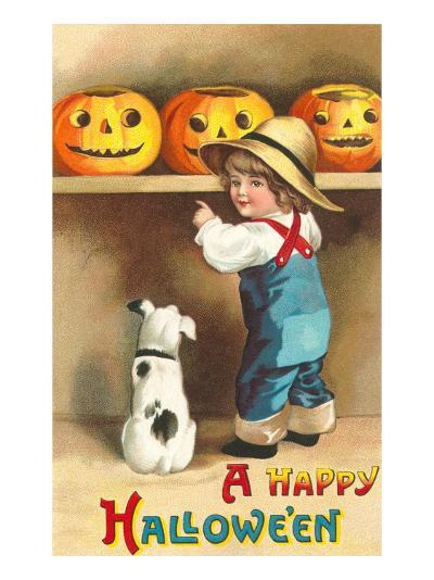 A Happy Halloween, Dog and Boy with Jack O'Lanterns--Art Print
