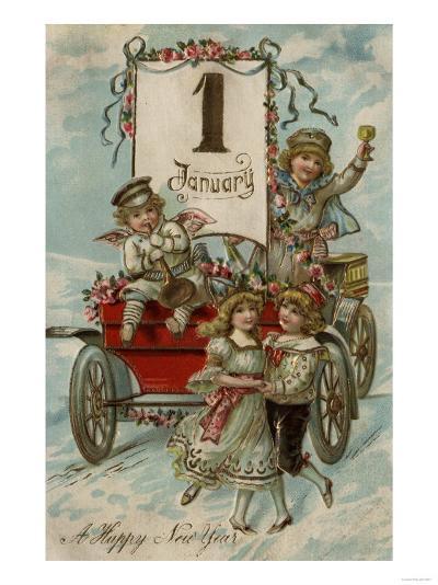 A Happy New Year - Kids Around a Red Wagon-Lantern Press-Art Print