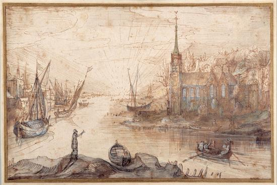 A Harbour Scene with Shipping and a Church at Sundown-Cornelis Claesz Van Wieringen-Giclee Print