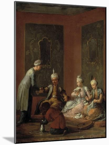 A Harem Scene with Turks Drinking Coffee-Christian W.e. Dietrich-Mounted Premium Giclee Print